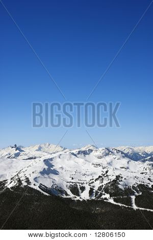 Scenic of ski trails on mountain in Whistler, British Columbia, Canada.