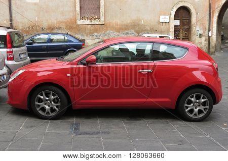 Red Alfa Romeo Mito Car