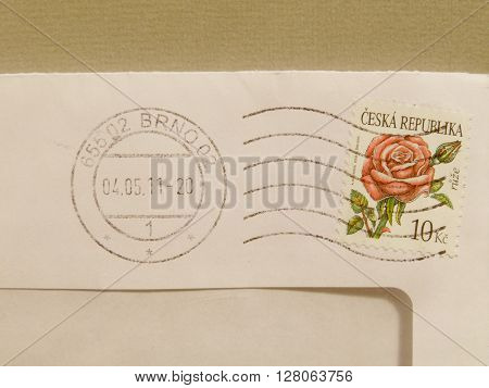 Czech Stamp Over A Mail Envelope