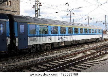 DRESDEN GERMANY - CIRCA MARCH 2016: train of the Czech railways (Ceske drahy) parked at the Main station (Dresden Hauptbahnhof)