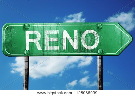 reno road sign , worn and damaged look