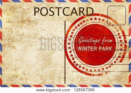 winter park stamp on a vintage, old postcard