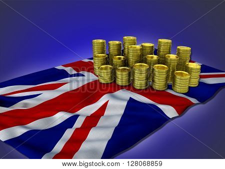 United Kingdom economy concept with national flag and stack of golden coins on blue background - 3D render