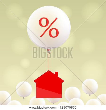 Red house icon is flying on white balloon with percent sign, many little white balloons at bottom