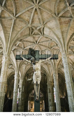 Crucifixion scene in Jeronimos Monastery in Lisbon, Portugal.