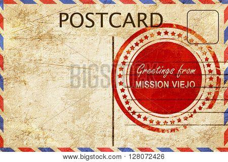 mission viejo stamp on a vintage, old postcard