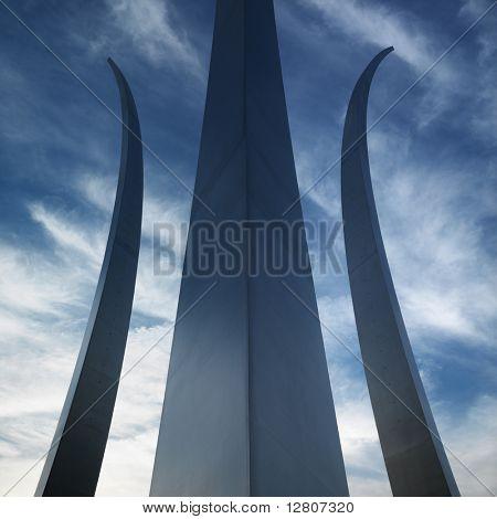 Three spires of Air Force Memorial in Arlington, Virginia, USA.