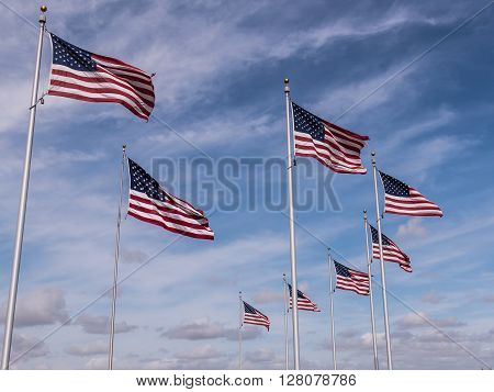 Formation of flags at Miramar National Cemetery in San Diego, California.