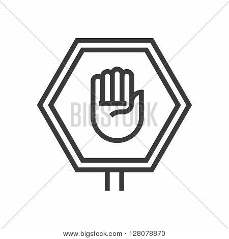 Stop Sign, Hand Icon