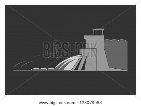 Hydroelectric power plant. Isolated on background. Vector illustration