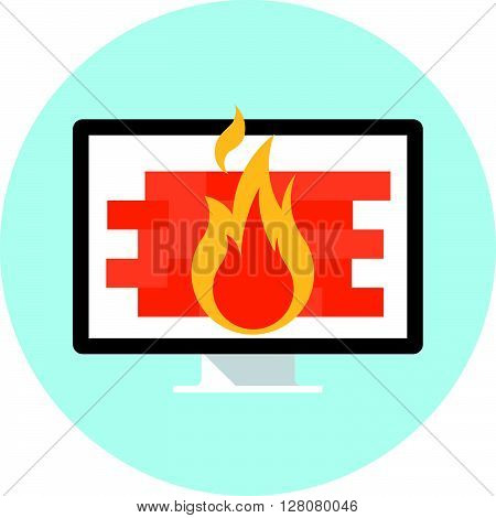 Firewall Theme, Flat Style, Colorful, Vector Icon For Info Graphics, Websites, Mobile And Print Medi