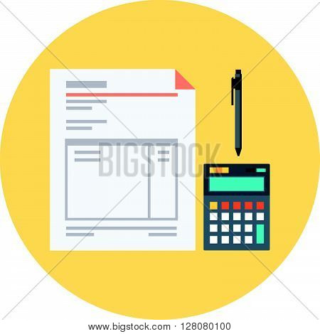 Invoice Flat Style Colorful, Vector Icon For Info Graphics, Websites, Mobile And Print Media.