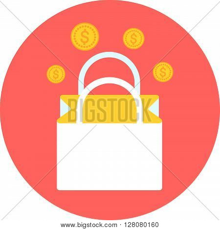 Shopping Bag, Commerce Theme, Flat Style, Colorful, Vector Icon For Info Graphics, Websites, Mobile