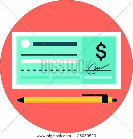 Che Que Payment Flat Style, Colorful, Vector Icon For Info Graphics, Websites, Mobile And Print Medi