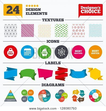 Banner tags, stickers and chart graph. Best mom and dad, brother and sister icons. Weight and cupcake signs. Award symbols. Linear patterns and textures.