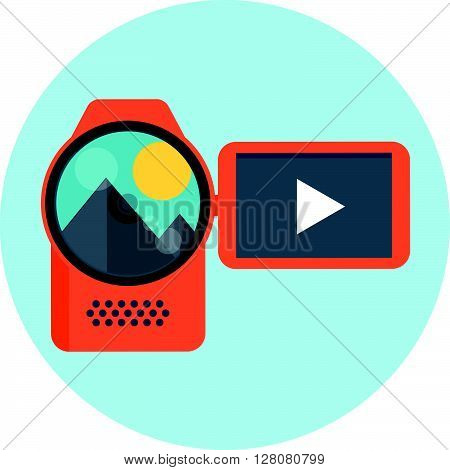 Video Camera Theme, Flat Style, Colorful, Vector Icon