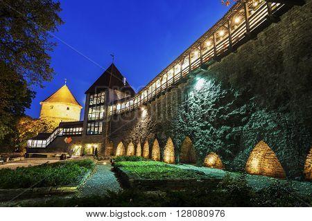 Tallinn City Walls at night. Tallinn Estonia.