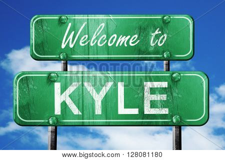 kyle vintage green road sign with blue sky background