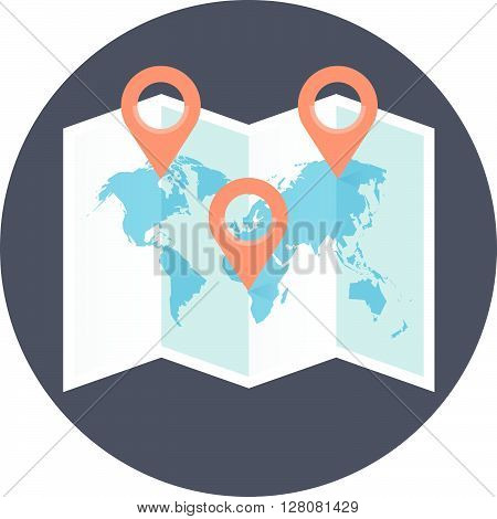Geo Targeting Theme, Flat Style, Colorful, Vector Icon