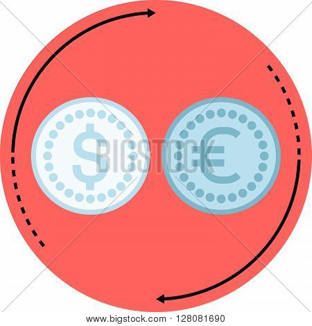 Money Converter Flat Style, Colorful, Vector Icon