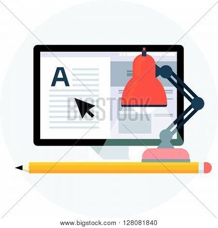 Studio, Freelance Flat Style, Colorful, Vector Icon