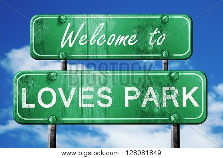 loves park vintage green road sign with blue sky background