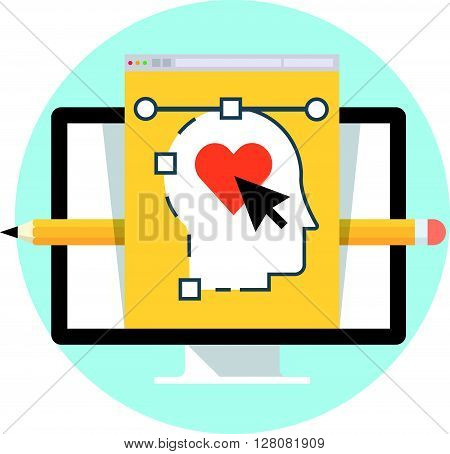 User Experiance Design Flat Style, Colorful, Vector Icon