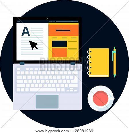 Studio, Freelance, Flat Style Colorful, Vector Icon