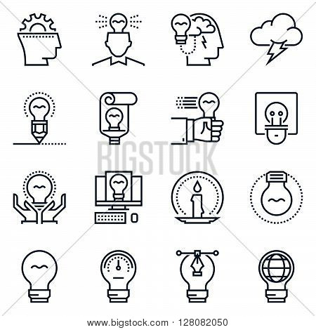 Ideas And Lamps Icon Set