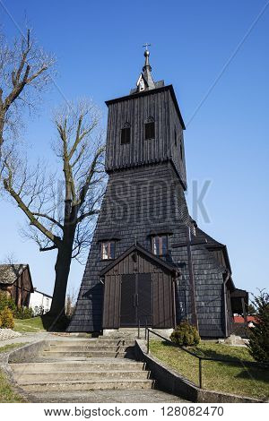 Wooden Church of St. Anna from XIX century in Golkowice. Golkowice Slaskie Poland.