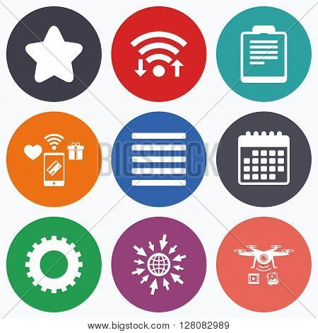 Wifi, mobile payments and drones icons. Star favorite and menu list icons. Checklist and cogwheel gear sign symbols. Calendar symbol.