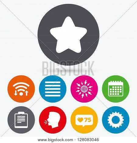 Wifi, like counter and calendar icons. Star favorite and menu list icons. Checklist and cogwheel gear sign symbols. Human talk, go to web.
