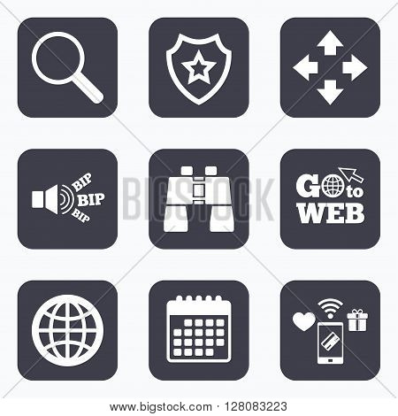 Mobile payments, wifi and calendar icons. Magnifier glass and globe search icons. Fullscreen arrows and binocular search sign symbols. Go to web symbol.