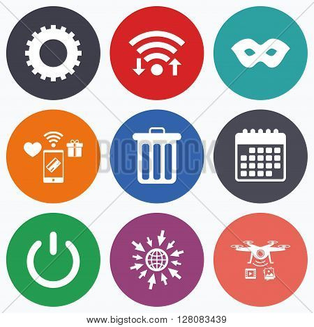 Wifi, mobile payments and drones icons. Anonymous mask and cogwheel gear icons. Recycle bin delete and power sign symbols. Calendar symbol.