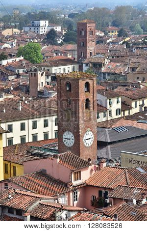 Panorama of the beautiful historic center of Lucca with its medieval towers and belfries