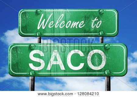 saco vintage green road sign with blue sky background