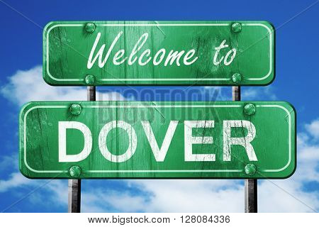 dover vintage green road sign with blue sky background