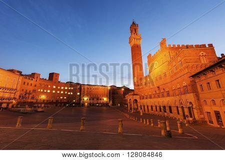 Siena town hall at night. Siena Tuscany Italy
