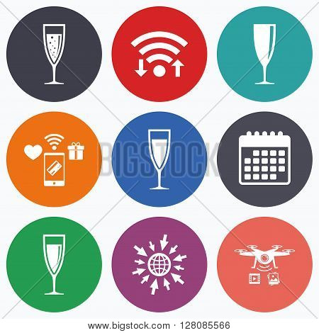 Wifi, mobile payments and drones icons. Champagne wine glasses icons. Alcohol drinks sign symbols. Sparkling wine with bubbles. Calendar symbol.