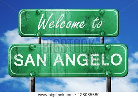 san angelo vintage green road sign with blue sky background
