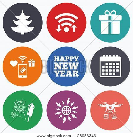 Wifi, mobile payments and drones icons. Happy new year icon. Christmas tree and gift box signs. Fireworks rocket symbol. Calendar symbol.