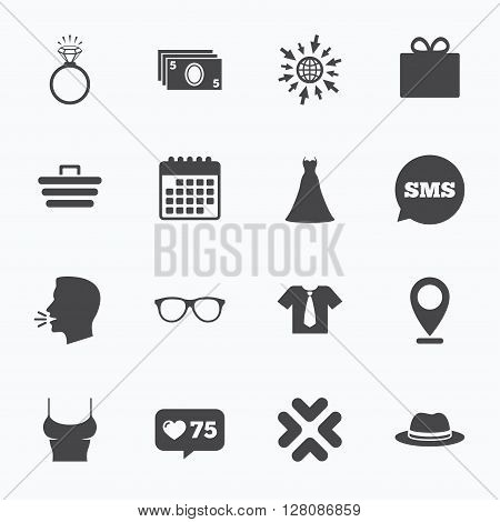 Calendar, go to web and like counter. Accessories, clothes icons. Shirt with tie, glasses signs. Dress and engagement ring symbols. Sms speech bubble, talk symbols.