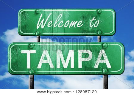 tampa vintage green road sign with blue sky background