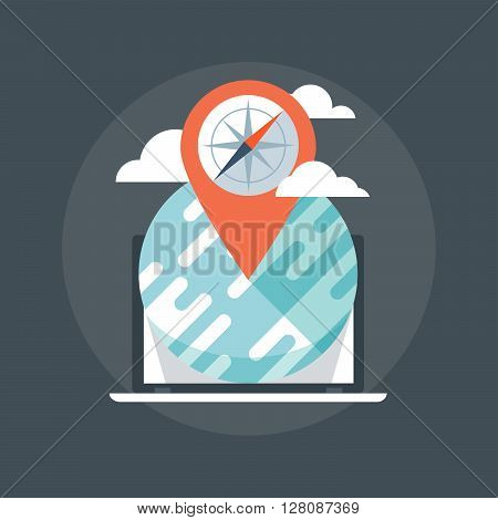 Geo Location Flat Style, Colorful, Vector Icon