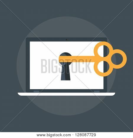 Computer And The Key Flat Style, Colorful, Vector Icon.