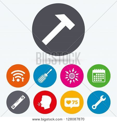 Wifi, like counter and calendar icons. Screwdriver and wrench key tool icons. Bubble level and hammer sign symbols. Human talk, go to web.