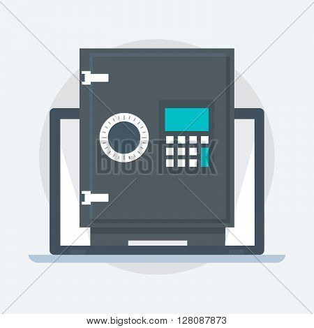Deposit Protection Safe Box, Flat Style, Colorful, Vector Icon