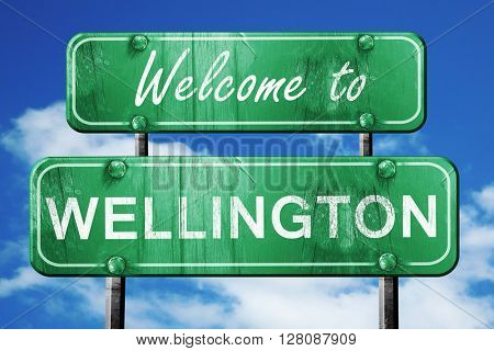 wellington vintage green road sign with blue sky background