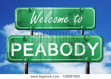 peabody vintage green road sign with blue sky background