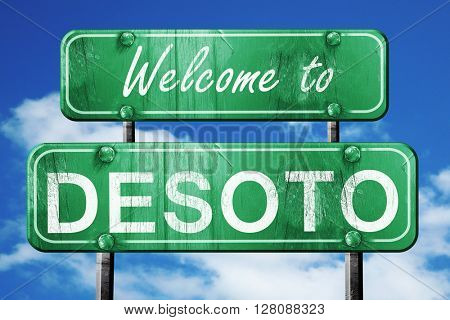 desoto vintage green road sign with blue sky background